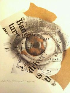 Collage Eye, uknown artist, interesting use of collaged pages from newspapers to create a clear focal point
