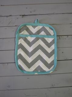 Caught Ya Lookin'-Gray and Turquoise Pot Holder