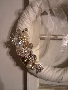 My version of the vintage Jewelry wreath...still adding jewelry as I get it.