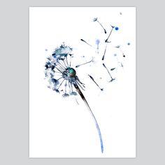 Dandelion Watercolor Print - Fairy Somnia at artollo.com