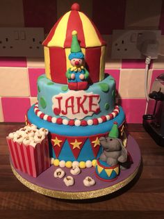 3 tier circus theme cake. This is a dummy cake for a bakery window display x