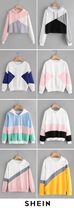 Color Block Sweatshirts - Sweat Shirt - Ideas of Sweat Shirt - Color Block Sweatshirts Teenage Girl Outfits, Girls Fashion Clothes, Teen Fashion Outfits, Trendy Fashion, Korean Fashion, Girl Fashion, Fashion Dresses, Outfits For Teens, Cute Casual Outfits