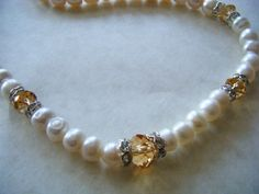 Vintage Necklace 70's Glass Pearl Crystal Bead by CaroleGCreates, $39.99