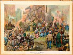 een schilderij over de tachtg jarige oorlog waar een kasteel word belegerd