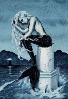 Mermaid-Art-LARGE-SIZE-PRINT-Gothic-Fantasy-Stormy-Sea-Ocean-lighthouse-dark
