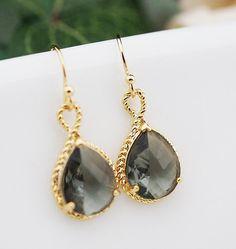 Wedding Jewelry Dangle Earrings Bridal Earrings Bridesmaid Earrings Black diamond grey glass Pear Cut  Earrings