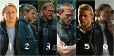 Six different seasons of Jax teller. Sons of anarchy