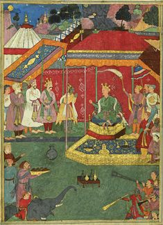 n illustration from the Razmnama: Yudhishthira and his brothers ask Bhishma for his permission to fight, by Yusuf 'Ali, India, Mughal, 1616