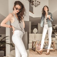James Jeans  High Class Frost White Jeans, Melissa Shoes  Boho Heal, Zanzea  Grey Tank, Sheinside Oversize Denim Jacket