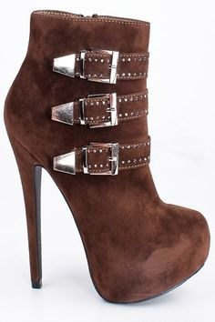 BROWN FAUX SUEDE TRIPLE BUCKLE STUDDED PLATFORM ANKLE BOOTIE