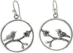 Bird on a Branch Sterling Silver Hook Earring Findings #ninacharms