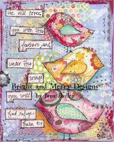 3 Birds  Mixed media art print from www.brightandmerrydesigns.com - Pinterest inspired :)