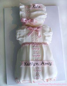 dress & bonnet baby shower cake