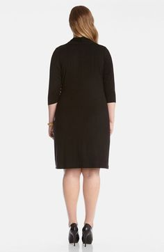 Karen Kane Black Cascade Faux Wrap Dress (Plus Size) available from Nordstrom #Karen_Kane #Black #Cascade #Faux #Wrap #Multifunctional #Work #Party #Dress #Plus #Size #Womens #Fashion #KarenKane #Plus_Size_Fashion #Nordstrom