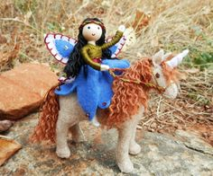 Miniature Flower Fairy Bendy Doll and Unique Felt Unicorn Set ...