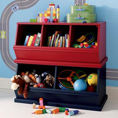 Kids' Toy Boxes: Kids Wooden Primary Stacking Storage 2 and 3 Bin