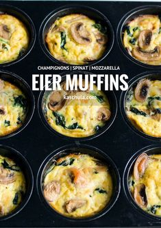 A recipe for egg muffins with spinach and mushrooms. (Hearty Low Carb Muffins) A recipe for egg muffins with spinach and mushrooms. Veggie Muffins, Healthy Muffins, Low Calorie Recipes, Healthy Recipes, Best Egg Recipes, Spinach Benefits, Breakfast Cups, Spinach Stuffed Mushrooms, Finger Foods