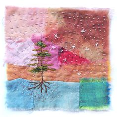 Textile Fiber Art, Textile Artists, Embroidery Art, Embroidery Designs, Boro Stitching, Fabric Postcards, Postcard Art, Arts And Crafts, Art Crafts