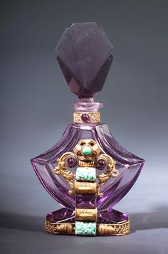 Art Deco Czechoslovakian perfume bottle, circa 1920s, (Reminds me of the Shalimar bottle)