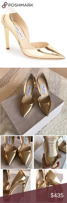 Jimmy Choo Darylin 100mm Jimmy Choo- Darlyin 100mm- size Euro 35- Gold- almost new condition, very minor scuff from being in the box. Purchase includes heels and original jimmy Choo box. These staples with complete any upcoming holiday look! Or even a perfect gift! Please comment 👇 if you have any questions! NO TRADES- all offers must be made using the button- thank you😘 Jimmy Choo Shoes Heels