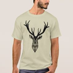 Classic Stag Deer Head Black Grey Animal T-Shirt - vintage wedding gifts ideas personalize diy unique style