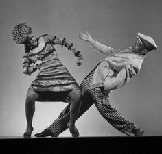 "Dancer Katherine Dunham dancing the Florida East-Coast shimmy w. dancer Ohardieno during show ""Shore Exursion"" New York City, 1943, Photographer Gjon Mili."