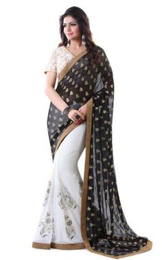 Black and White Half and Half Indian Designer Saree. Exclusive Decor Collection.