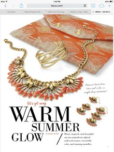 Coral cay necklace/earrings and Aztec City Clutch Summer 2014.  www.stelladot.com/jenayedunlap