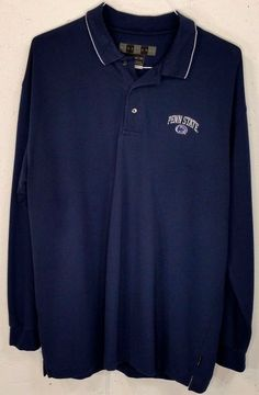 Nike Golf Dri-Fit Mens Blue Cotton Polyester LongSleeve PENN STATE Polo Shirt XL #Nike #PoloRugby