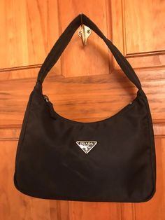 84b787aeff9e Prada Sport Black Tessuto Nylon Small Hobo Handbag Shoulder Purse
