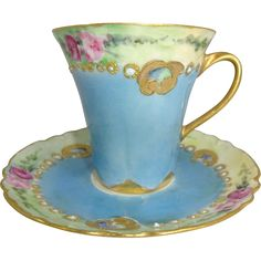 Antique Limoges French Hand Painted Tea Cup & Saucer, Powder Blue & Light Green with Pink Roses  with Gilded Enamelled Jewels, C. 1894 - 1931