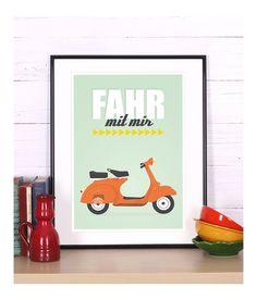 Retro+Poster+Druck,+Vespa+Motorroller,+fahr+mit+mi+von+Emugallery+auf+DaWanda.com