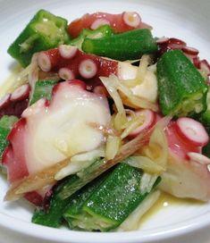 タコとオクラのわさび和え B Easy Cooking, Cooking Recipes, Side Recipes, Japanese Food, No Cook Meals, Food Dishes, Pasta Salad, Cabbage, Food And Drink