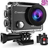 #1: Crosstour 4K 16MP Wifi Ultra HD Action Camera Waterproof Sports Cam Remote Control 98ft Underwater Plus 2 Rechargeable Batteries 20 Accessories for Skiing Snorkeling Swimming and Cycling(Black) #amazon #movers #shakers #electronics #photo
