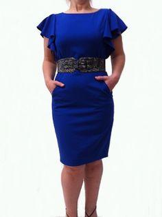 Calvin Klein Dress, Snakeskin Belt Flutter Sleeve Sheath [RB189CK] - $79.00