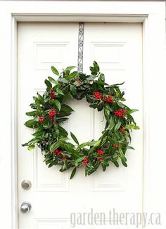 Make a beautiful Christmas holly wreath from stiff wire and natural materials, or oasis ring, so. Christmas Door Wreaths, Christmas Garden, Holiday Wreaths, Christmas Crafts, Christmas Decorations, Holiday Decor, Holly Christmas, Homemade Christmas Wreaths, Green Christmas