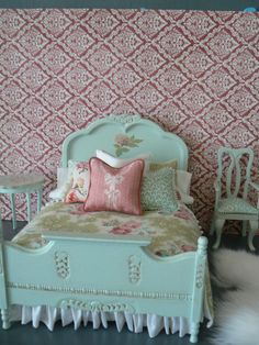 Hey, I found this really awesome Etsy listing at https://www.etsy.com/listing/178102724/pale-bluish-green-painted-bed-with