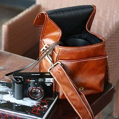 men's leather camera bag