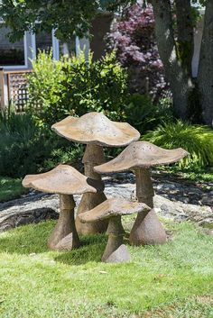 Very attractive decorative garden mushroom ornament, made from stained concrete, part of a 5 piece set. Can be left outside year round! Some Of The Common Garden Ornaments Explored - Owe Crafts Garden Mushrooms in Ancient Stone How To Start Organic Garden Hydrangea Quercifolia, Mushroom Decor, Large Mushroom, Concrete Leaves, Stained Concrete, Cement Garden, Concrete Garden Statues, Garden Mushrooms, Concrete Crafts