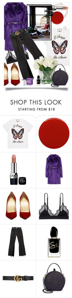 """Hygge Purple Thursday"" by katartrina ❤ liked on Polyvore featuring Gucci, Smith & Cult, Christian Dior, LoveStories, Giorgio Armani and Nancy Gonzalez"