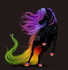 Peace by KoKino-Art on DeviantArt Mystical Animals, Mythical Creatures Art, Fantasy Creatures, Beautiful Unicorn, Beautiful Fantasy Art, Beautiful Horses, Unicorn Images, Unicorn Pictures, Unicorn And Fairies