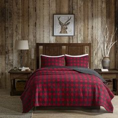 Woolrich Woolrich Check Full/Queen Oversized Quilt Mini Set in Red - Olliix quilt set features a classic buffalo check pattern in red and black. It reverses to a solid black color. Made from cotton this lightweight quilt is soft to the Plaid Bedroom, Plaid Bedding, Bedroom Red, Rustic Bedding, Bedroom Decor, Autumn Bedding, Plaid Quilt, Bedroom Ideas, Master Bedroom