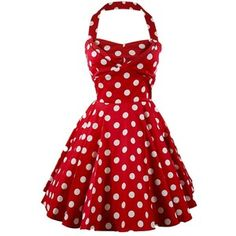 Ixia Polka Dot A-line 50s Pinup Dress-Red-Large at Amazon Women's Clothing store: