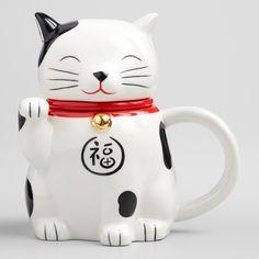 e1fa7b5e Lucky Cat Tea Infuser Mug by World Market Unique Coffee Mugs, I Love Coffee,