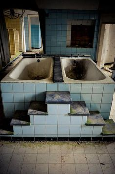 """part of an abandoned insane asylum where the patients would receive their ice water baths. It's hard to comprehend the twisted and cruel """"treatments"""" that were inflicted on people outside of war, and """"we"""" allowed it for a long time. Old Abandoned Buildings, Abandoned Asylums, Old Buildings, Abandoned Places, Mental Asylum, Insane Asylum, Scary Places, Haunted Places, Abandoned Hospital"""