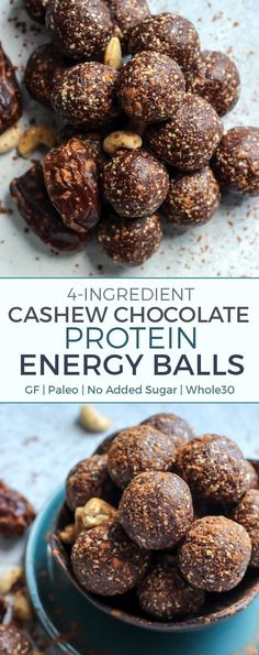 Just four ingredients, a food processor or heavy duty blender and a little bit of ball rolling time! They are paleo and compliant. You can even leave out the protein if looking for a vegan-friendly option. Protein Energy, Protein Bites, Protein Ball, Protein Snacks, Healthy Snacks, Energy Snacks, Healthy Sweets, Paleo Recipes, Gourmet Recipes