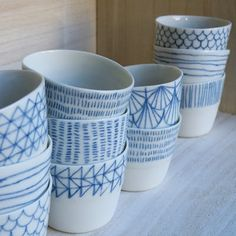 Cups and Bowls. This would be really cool to do, and replace all my dishes with handmade ones from yours truly! Maybe doing all the cups in one color, the plates in another, and the bowls in another color... So many ideas!