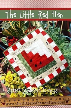 Watermelon Days: Remember the joy of hot summer days with this sweet watermelon table square! Includes instructions to complete a quilted watermelon table square measuring 12 X Cute Quilts, Small Quilts, Mini Quilts, Log Cabin Quilts, Barn Quilts, Quilt Block Patterns, Quilt Blocks, Watermelon Quilt, Sweet Watermelon