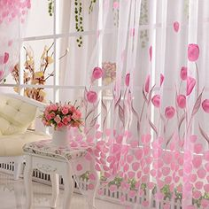Scarf Valances Colors Floral Tulle Voile Door Window Curtain Drape Panel Sheer in Home & Garden, Window Treatments & Hardware, Curtains, Drapes & Valances Curtain For Door Window, Window Screens, Door Curtains, Valance, Cafe Curtains, Window Panels, Kitchen Curtains, Pink Tulips, Tulips Flowers