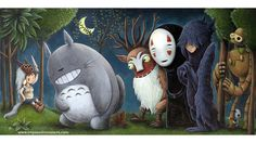 """""""Sweet mashup by Justin Hillgrove, the various spirits and creatures from Studio Ghibli's films pay tribute to San, the wildest of them all."""""""